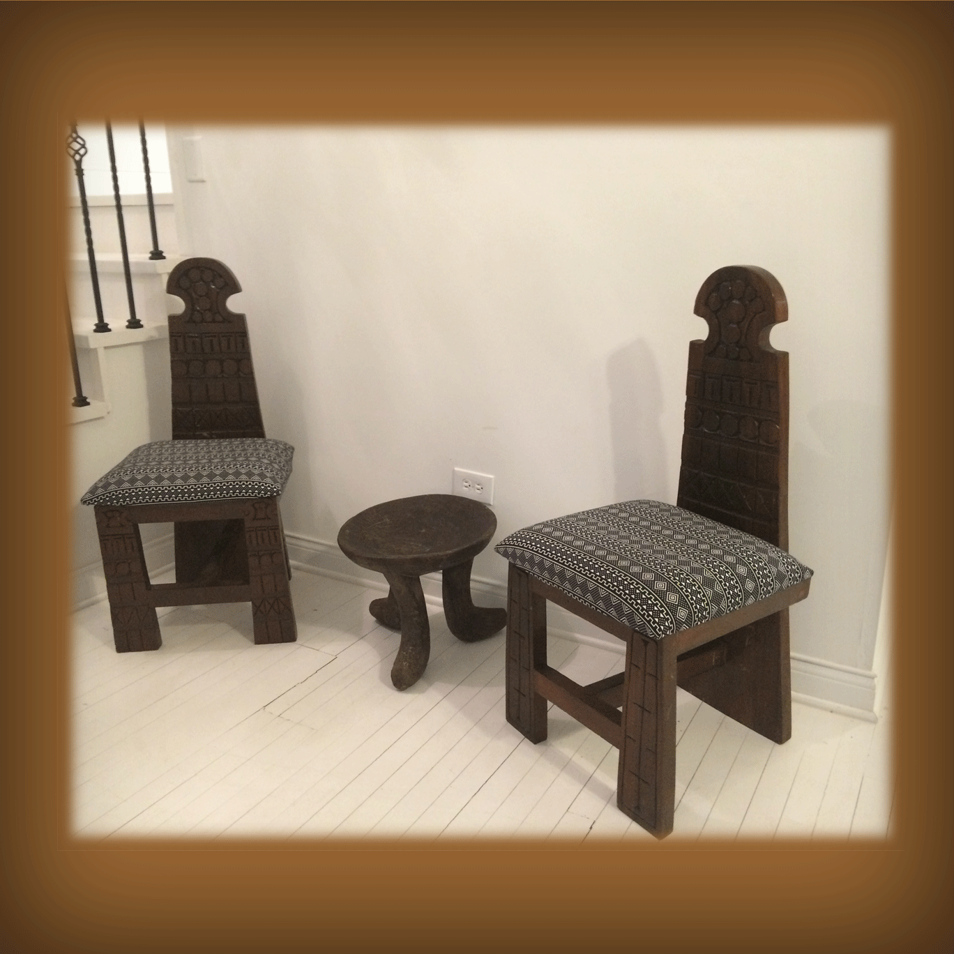 HAND CARVED CHAIR WITH TALL BACK – REUPHOLSTERED CUSHION | African ...